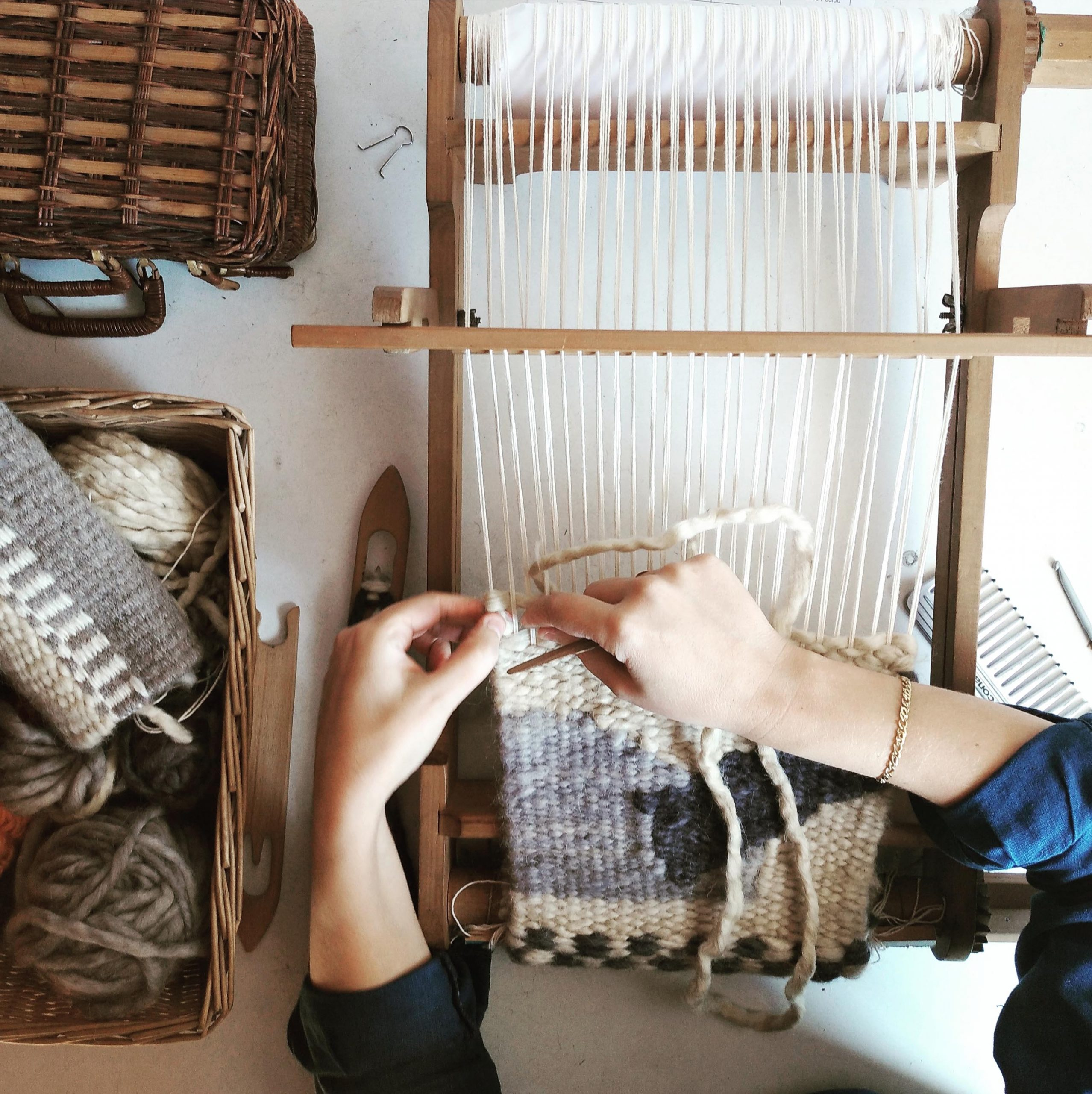The act of weaving